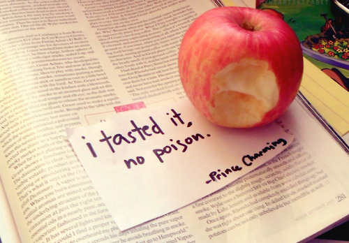 apple, book, charming, danger, fairytale, poison, prince, princess, quote, snow white, word