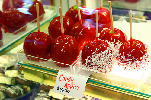 apples, art, beautiful, candy apples, couple, cute, fashion, food, hair, photography, pretty, red, toffee apples