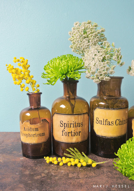 aqua, blue, decorate, flowers, fresh, glass, green, home, interior, label, lime, medicine, pharmacy, photography, spiritus, spring, styling, vase, vintage, yellow