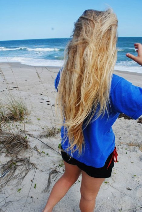 arms, beach, bitch, blond, blonde, blue, girl, hair, hands, legs, ocean, perfect, sand, sea, surf