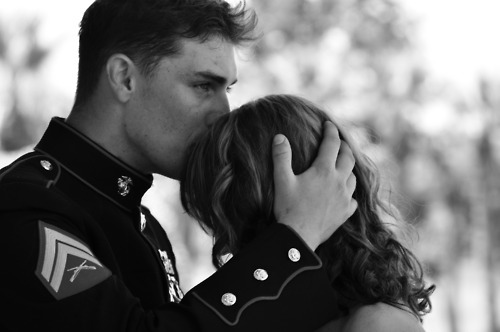 army, black and white, couple, cute, kiss, love, lovely, man, woman
