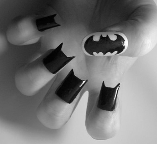 art, batman, black and white, nails