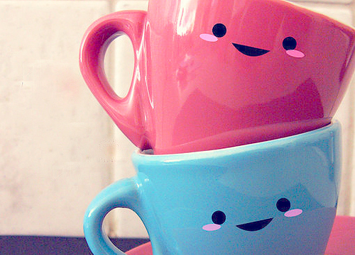 art, beautiful, blue, couple, cup, cups, cute, fashion, hair, kawaii, photography, pretty, red, vintage