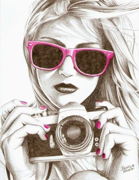 art, camera, cute, drawing, girl, photography, sketch