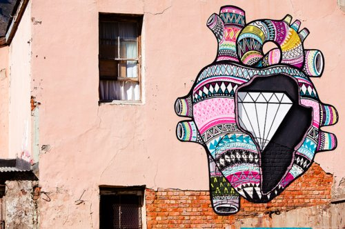 art, cape town, heart, mural, paint, south africa, street art