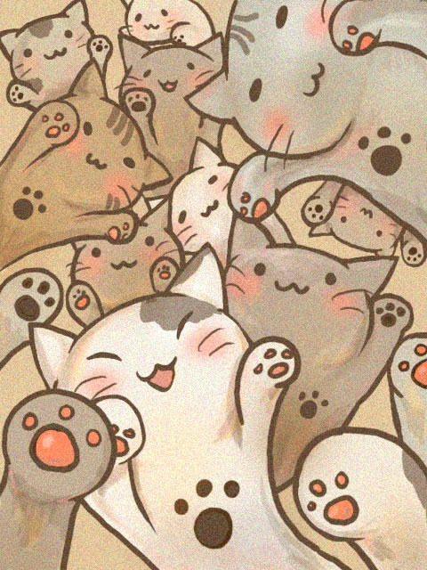 art, cat, cute, drawing, kawaii