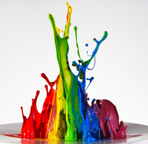 art, color, cool, paint, photography, rainbow, slow motion, speakers, splash