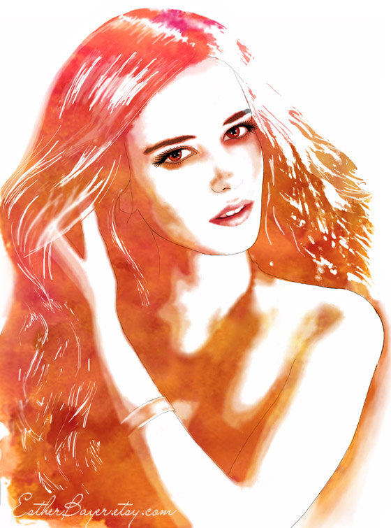 art, colorful, drawing, drawings, esther bayer, face, fashion, fashion illustration, fashion illustrations, fashion sketch, fashion sketches, fine art, girl, gold, illustration, illustrations, ink, mixed media, model, paint, painting, portrait, poster