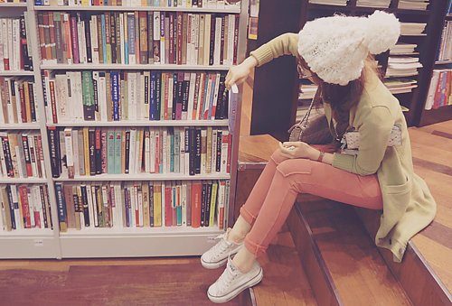 asian, beanie, books, cute
