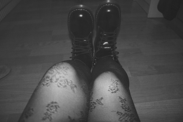 average, beautiful, black and white, boots
