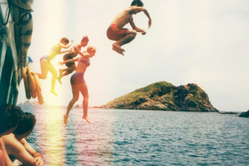 aw, beach, cute, friends, fun, hipster, indie, jump, lake, photography, river, sea, summer, vintage, water