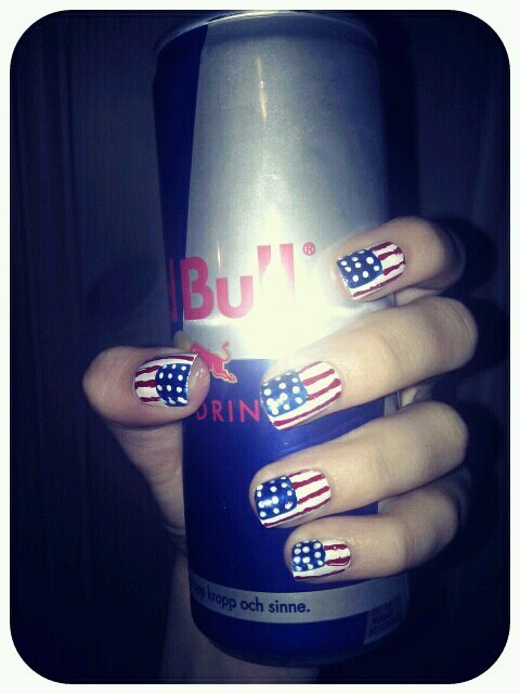 awesome, cool, drink, fingers, flag, hands, nail art, nailpolish, nails, redbull, swag, usa