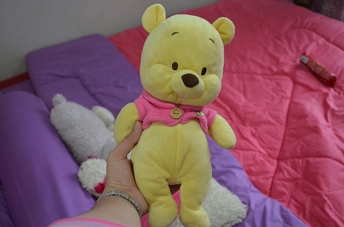 baby, bed, cute, pooh