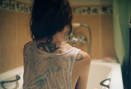 back, bath, girl, ink, tattoo