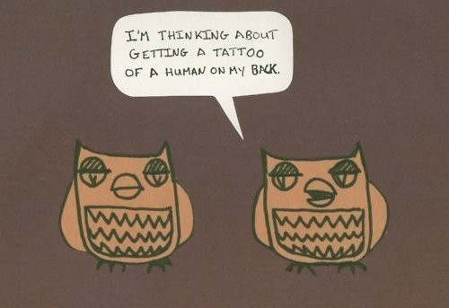 back, cute, funny, human, owl, owls, tattoo, text
