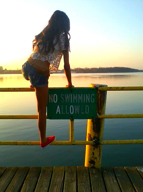 bad ass, clothes, cute, fashion, girl, no swimming, no swimming allowed, pretty, rebel, sign, summer, swim