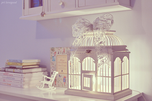 badroom, bird cage, bow, classy, cute, decor, lace, photography, pretty, room, vintage, white