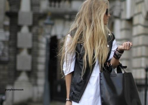 bag, black, blonde, hair