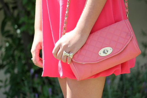 bag, bow, bow ring, dress, fashion, fashionable, girl, ring