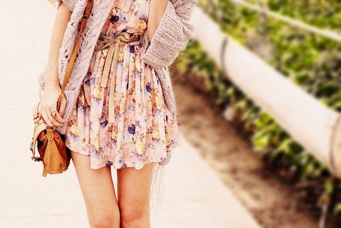 bag, cardigan, dress, fashion, floral dress, kfashion