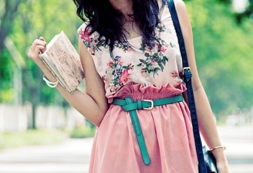bag, cute, dress, fashion, flowerprint, love, photography, skirt, style