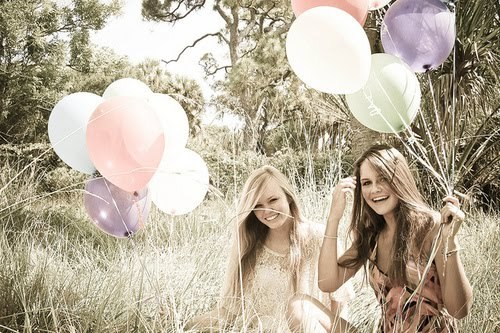 balloons, girls, nature, photography