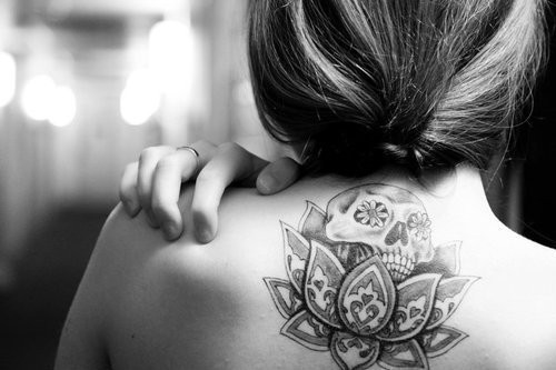 b&w, back, back tattoo, beautiful