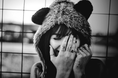 b&w, bear, black and white, girl