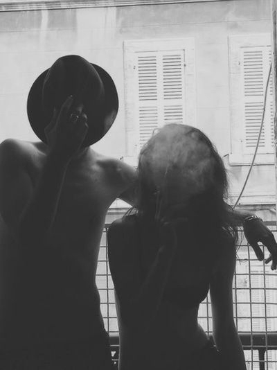 b&w, black and white, boy, cigarette, couple, girl, love, photography, shirtless, smoke, smoking, together