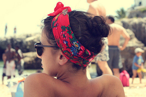 bandana, beach, beautiful, fashion, fun, girl, glasses, life, red, summer