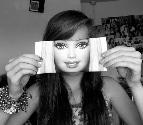 barbie, beautiful, black and white, cute, perfect