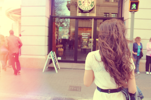 barcelona, beautiful, blond, cute, dress, girl, hair, love, pretty, roses, starbucks, vintage, wall, white