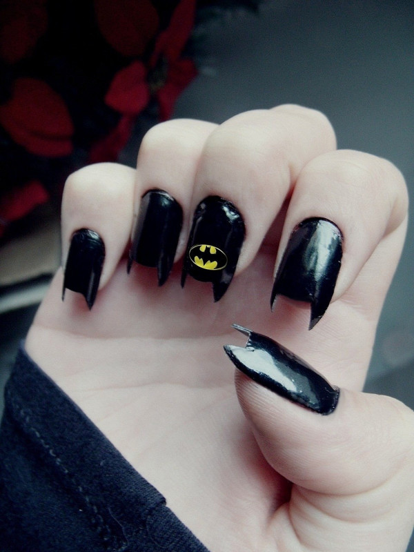 batman, black, criativity, nail polish, nails