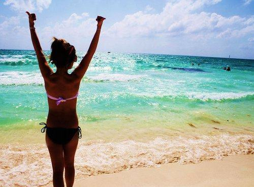 beach, beautiful, bikini, black, blonde hair, blue, brown hair, girl, happy, holidays, long hair, ocean, pink, pretty, sea, summer, sunglasses