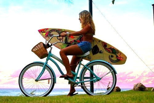 beach, bicycle, blonde, fashion