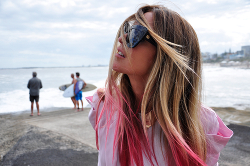 beach, blonde, girl, hair, pink