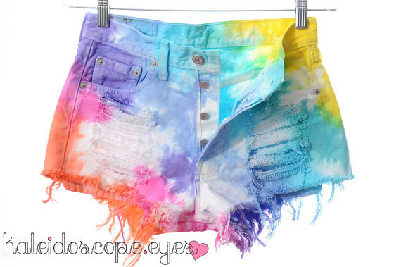 beach, clothing, colorful, colourful, cut off, cut offs, denim, denim shorts, destroyed, dip dye, dyed, fashion, festival, high waist, high waisted, hippie, hipster, indie, kaleidoscope eyes, levi, levis, ombre, rainbow, shorts, studded, studs, style