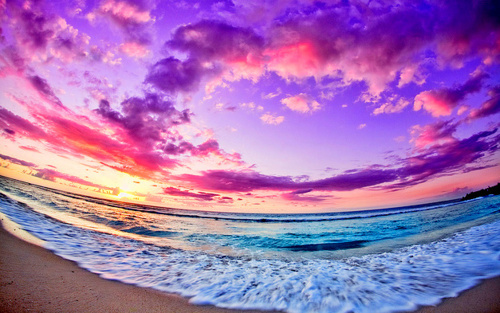 beach, clouds, colorful, ocean, sky