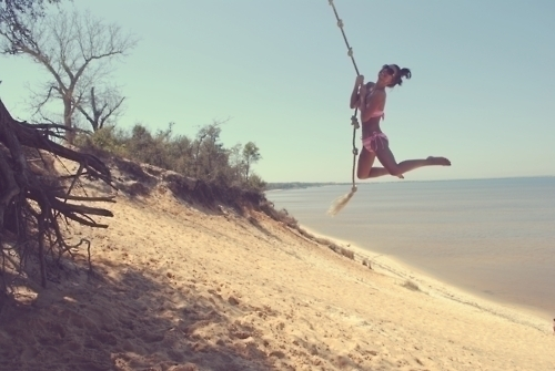 beach, cool, free, fun, girl, jump, pretty, summer, tree, water, we are young, wild, wing