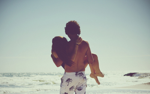 beach, couple, sea, waves