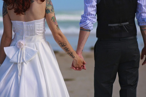 beach, love, tattoo, wedding