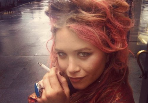 beastly, mary kate, mary kate olsen, olsen, pink hair, smoke