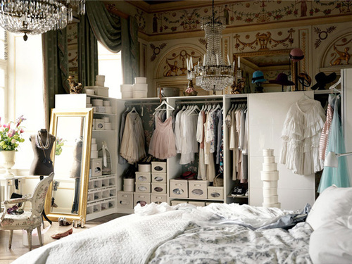 beautiful, bed, chair, closet, dresses, heaven, mirror, room