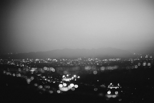 Black and white photography city lights