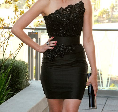 beautiful, black, dress, fashion