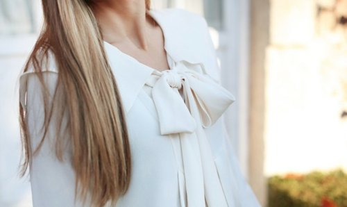 beautiful, blonde, blouse, bow