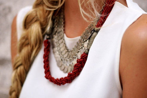 beautiful, blonde, braid, cool, edgy, girl, hair, inspiration, necklace, outfit, perfect, t-shirt
