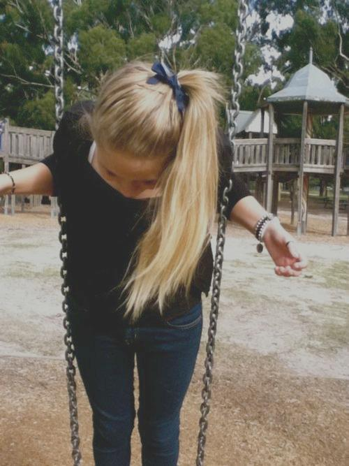 beautiful, blonde hair, cool, girl, long hair, nice, playground, pretty, shy, swing, teen