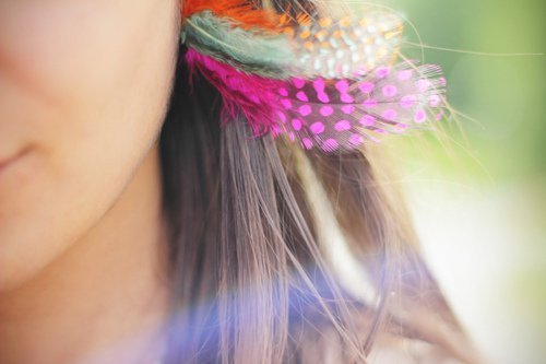 beautiful, blue, brown hair, cool, cute, feathers, girl, hair, i want, love it, orange, pink, summer