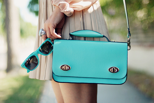 beautiful, blue, cute, dress, ligth colors, love it, lovely, outfit, purse, ring, sunglasses